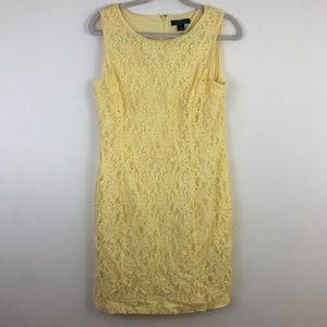 Ralph Lauren Yellow Lace Straight Fitted Dress